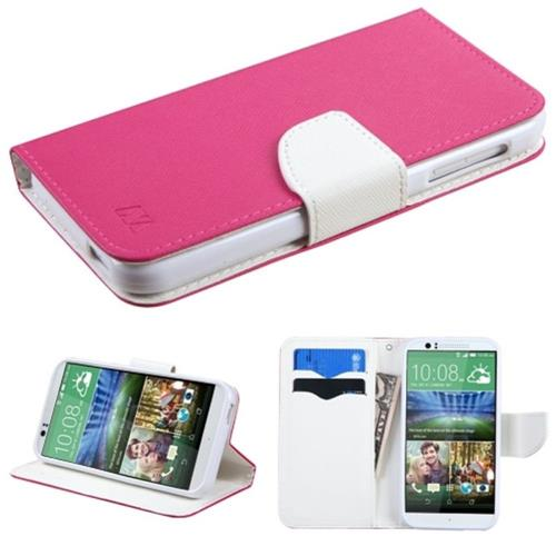 Insten Flip Leather Fabric Case w/stand/card slot For HTC Desire 510, Hot Pink/White