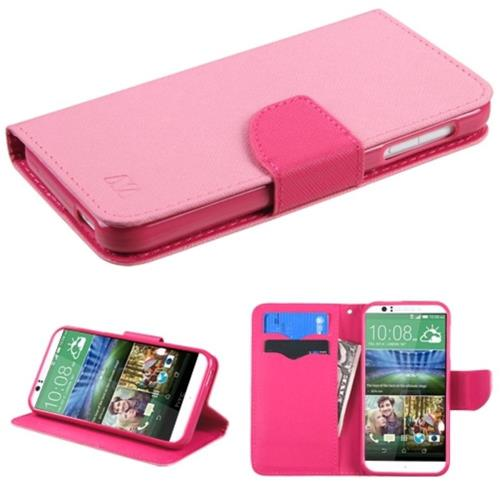 Insten Flip Leather Fabric Cover Case w/stand/card slot For HTC Desire 510, Pink