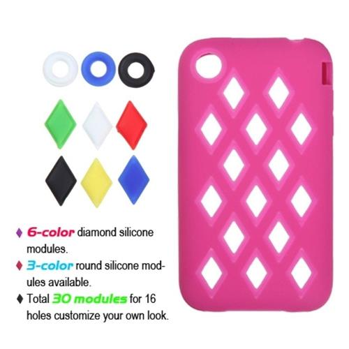 Insten Removable parts Module Skin Rubber Case For Apple iPhone 3G/3GS, Hot Pink/Colorful