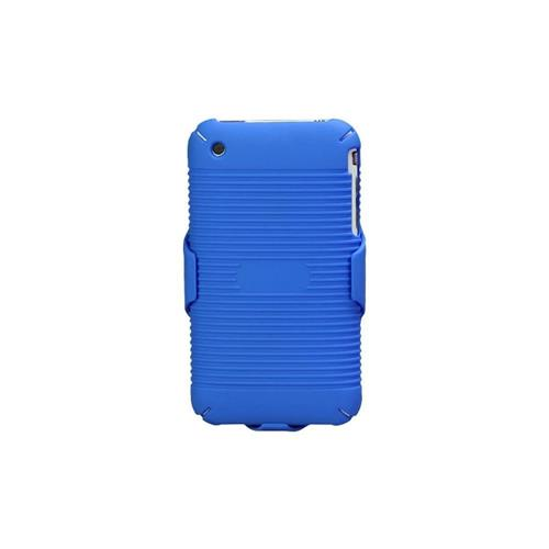 Insten Hard Rubberized Case w/Holster For Apple iPhone 3G/3GS, Blue