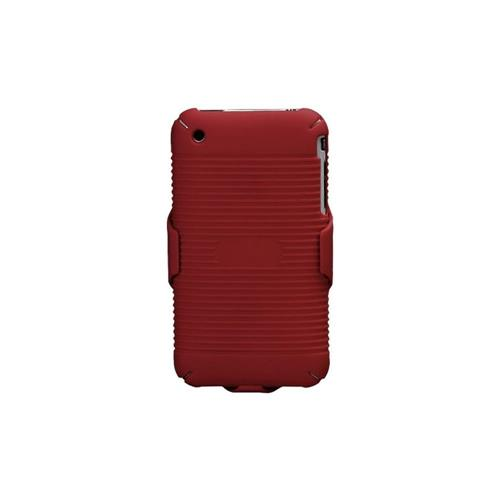 Insten Hard Rubber Coated Case w/Holster For Apple iPhone 3G/3GS, Red