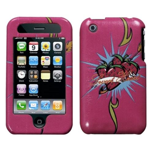 Insten Hearts Hard Case For Apple iPhone 3G/3GS, Hot Pink