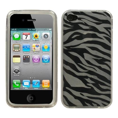 Insten Zebra TPU Cover Case For Apple iPhone 4/4S, White/Black