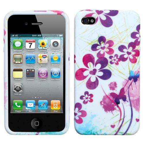 Insten Artistic Flowers TPU Case For Apple iPhone 4/4S, White/Purple