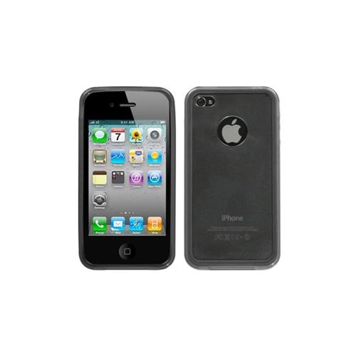 Insten Gel Matte Case w/stand For Apple iPhone 4/4S, Smoke