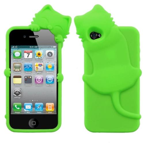 Insten Peeking Cat Skin 3D Rubber Cover Case For Apple iPhone 4/4S, Green