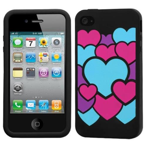Insten Colorful Love Rubber Cover Case For Apple iPhone 4/4S, Colorful/Black