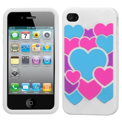 Insten Colorful Love Skin Rubber Cover Case For Apple iPhone 4/4S, White/Colorful