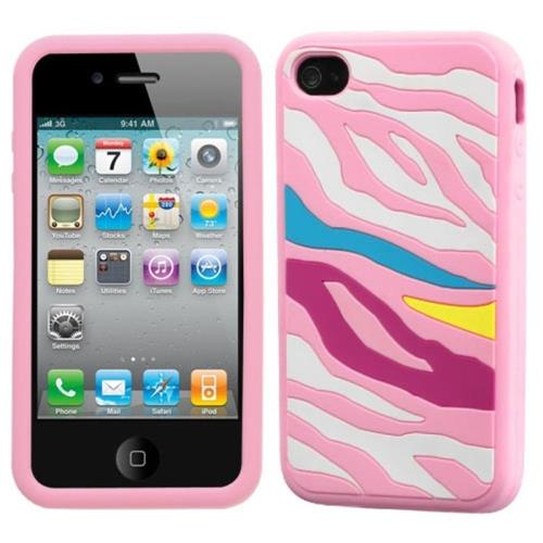 Insten Zebra Skin Rubber Cover Case For Apple iPhone 4/4S, Pink/Colorful