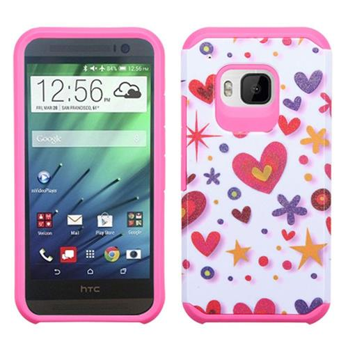 Insten Heart Graffiti Hard Dual Layer Rubber Silicone Cover Case For HTC One M9, Hot Pink/White