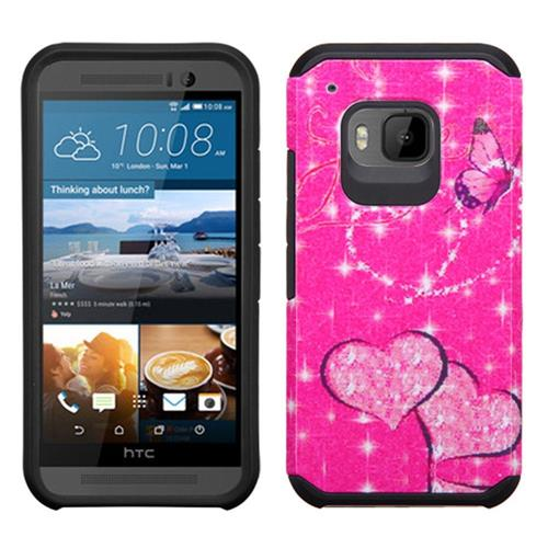 Insten Butterfly Glittering Hard Dual Layer Rubber Silicone Case For HTC One M9, Hot Pink/Black