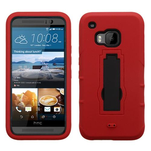 Insten Symbiosis Silicone Hybrid Rubber Hard Cover Case w/stand For HTC One M9, Red/Black