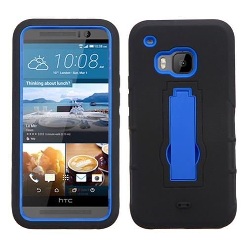 Insten Symbiosis Gel Hybrid Rubber Hard Case w/stand For HTC One M9, Black/Blue