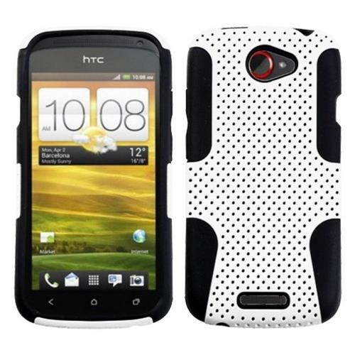 Insten Fitted Soft Shell Case for HTC One S - White/Black