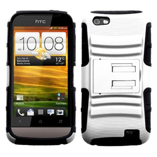 Insten Advanced Armor Hard Dual Layer Plastic Silicone Cover Case w/stand For HTC One V, White/Black
