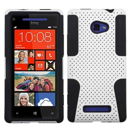 Insten Astronoot Mesh Hard Dual Layer Rubber Silicone Case For HTC Windows Phone 8X, White/Black