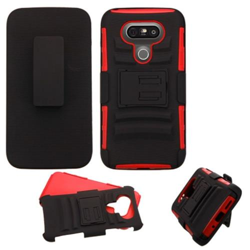 Insten Hard Hybrid Plastic Silicone Case w/stand/Holster For LG G5, Black/Red