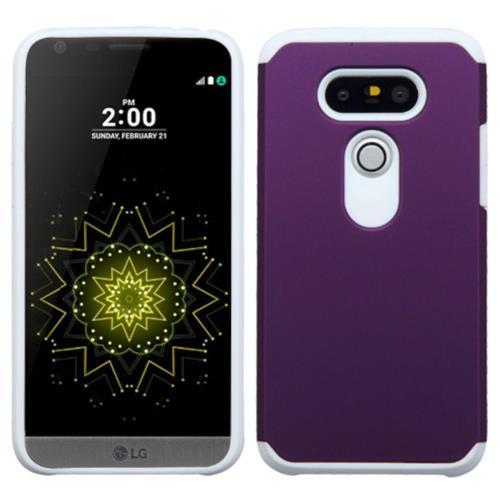Insten Hard Hybrid Rubber Silicone Cover Case For LG G5, Purple/White