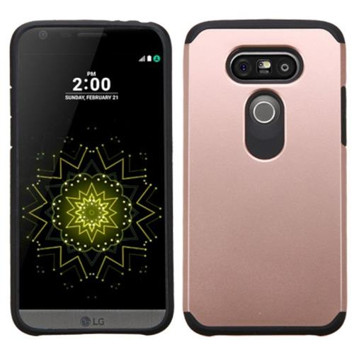 Insten Hard Hybrid Rubber Silicone Cover Case For LG G5, Rose Gold/Black