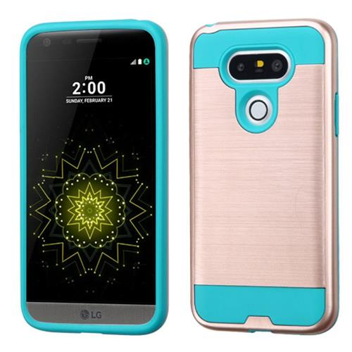 Insten Hard Dual Layer Rubber Silicone Case For LG G5, Rose Gold/Teal
