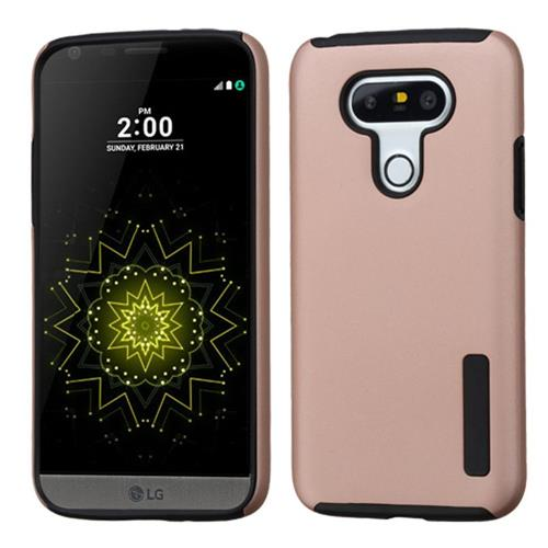 Insten Hard Dual Layer Rubberized Silicone Case For LG G5, Rose Gold/Black