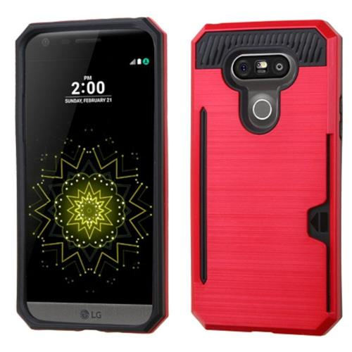 Insten Hard Dual Layer Rubber Coated Silicone Cover Case w/card holder For LG G5, Red/Black