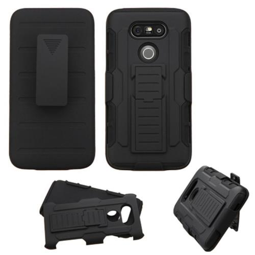Insten Hard Dual Layer Plastic Silicone Case w/stand/Holster For LG G5, Black