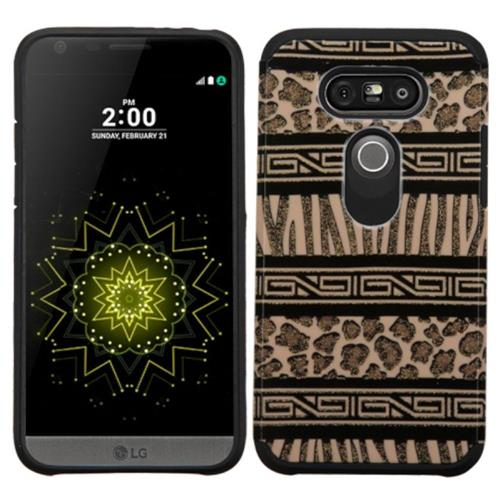 Insten Zebra Hard Hybrid Rubber Silicone Case For LG G5, Brown/Black