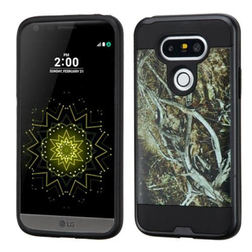 Insten Vines Hard Dual Layer Rubberized Silicone Cover Case For LG G5, Yellow/Black