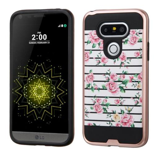 Insten Fresh Roses Hard Hybrid Rubber Coated Silicone Cover Case For LG G5, Pink/White