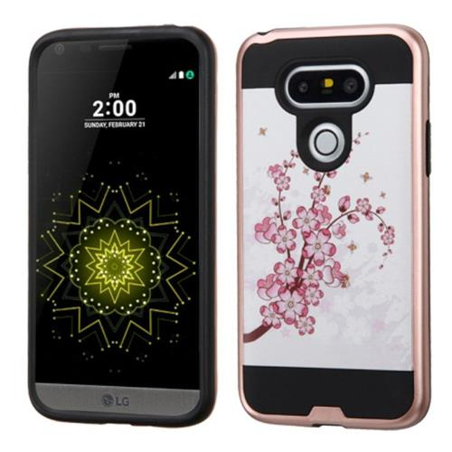 Insten Spring Flowers Hard Hybrid Silicone Case For LG G5, Pink/White