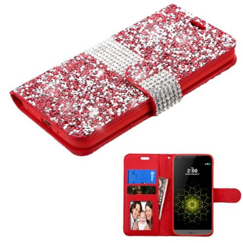 Insten Flip Leather Bling Cover Case w/card holder/Photo Display For LG G5, Red/Silver