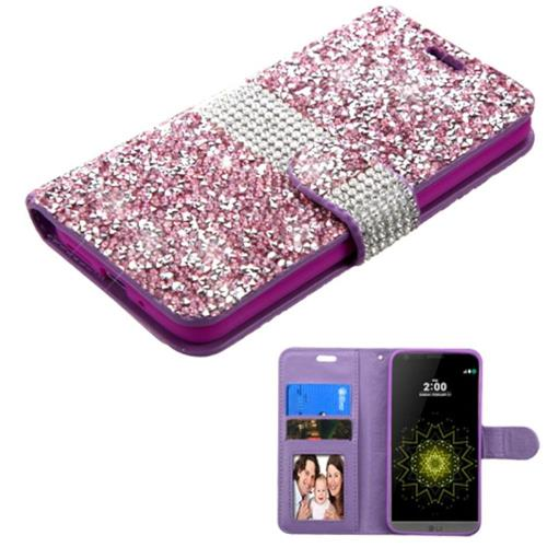 Insten Flip Leather Rhinestone Case w/card holder/Photo Display For LG G5, Purple/Silver