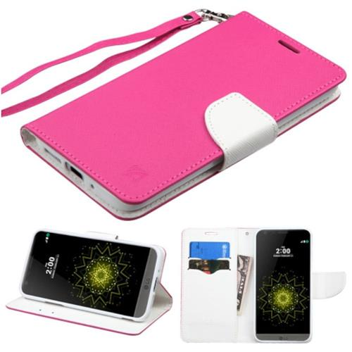 Insten Book-Style Leather Fabric Case Lanyard w/stand/card slot For LG G5, Hot Pink/White