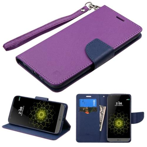 Insten Flip Leather Fabric Case Lanyard w/stand/card holder For LG G5, Purple