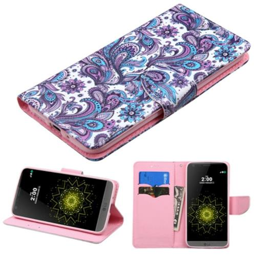 Insten European Flowers Folio Leather Fabric Case w/stand/card slot For LG G5, Purple/White