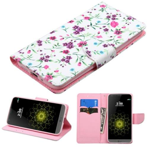Insten Flowers Flip Leather Fabric Case w/stand/card holder For LG G5, Pink/White