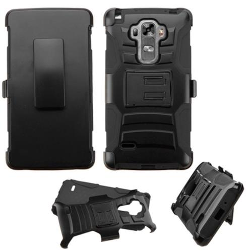Insten Hard Dual Layer Plastic Silicone Cover Case w/Holster For LG G Stylo/G Vista 2, Black