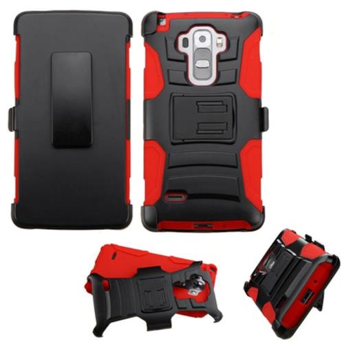 Insten Hard Hybrid Plastic Silicone Case w/Holster For LG G Stylo/G Vista 2, Black/Red