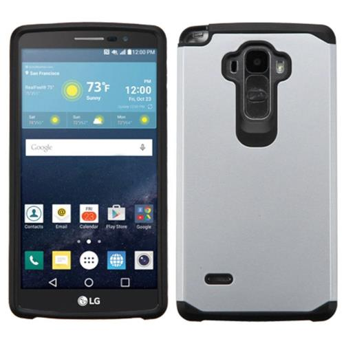 Insten Hard Dual Layer Rubber Coated Silicone Case For LG G Stylo/G Vista 2, Silver/Black