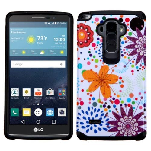 Insten Flower Buds Hard Dual Layer Rubberized Silicone Case For LG G Stylo/G Vista 2, Orange/White