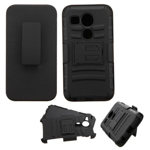 Insten Car Armor Hard Hybrid Plastic Silicone Cover Case w/Holster For LG Google Nexus 5, Black