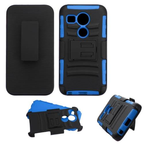 Insten Car Armor Hard Hybrid Plastic Silicone Case w/Holster For LG Google Nexus 5, Black/Blue