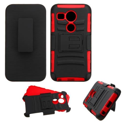 Insten Car Armor Hard Hybrid Plastic Silicone Cover Case w/Holster For LG Google Nexus 5, Black/Red