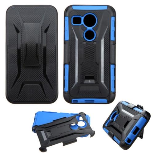 Insten Car Armor Hard Hybrid Plastic Silicone Cover Case w/Holster For LG Google Nexus 5, Black/Blue