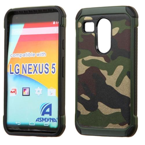 Insten Camouflage Hard Dual Layer Rubberized Silicone Case For LG Google Nexus 5X, Green/Black