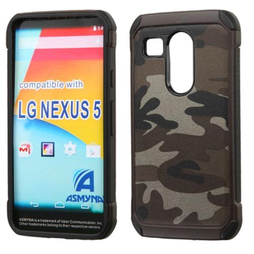 Insten Camouflage Hard Dual Layer Silicone Cover Case For LG Google Nexus 5X, Gray/Black