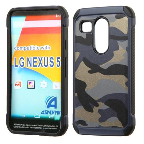 Insten Camouflage Hard Hybrid Rubber Coated Silicone Case For LG Google Nexus 5X, Blue/Black