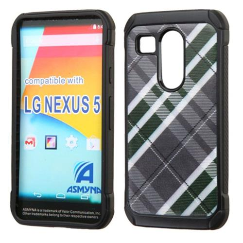 Insten Diagonal Plaid Hard Dual Layer Rubber Coated Silicone Case For LG Google Nexus 5X, Gray/White