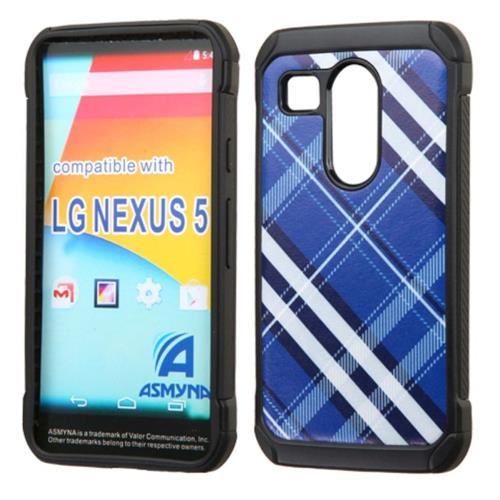 Insten Diagonal Plaid Hard Hybrid Rubber Silicone Case For LG Google Nexus 5X, Blue/White